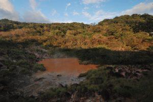"""Fumerolles de la Laguna fumarolica du sentier """"Sendero circular Las Pailas""""<br> Parc du volcan Rincon de la Vieja<br> Costa-Rica"""