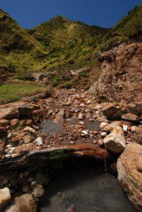 Fumerolles sulfureuses<br> Vallée de la désolation<br> Chemin du lac Boeling  Lake<br> Île de la Dominique (Dominica)