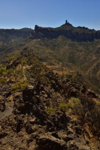 Le Roque Bentayga, piton basaltique à 1404m d'altitude au coeur de la Caldera de Tejeda<br> Paysaje Protegido de Las Cumbres<br> Île de Grande Canarie