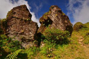 Le Rocher du Col de l'Echelle fracturé suite à l'éruption de 1976 -  La Soufrière / Parc national de la Guadeloupe -  Basse-Terre / Guadeloupe