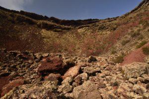 Vue depuis l'intérieur de Cratère du volcan La Corona. Île de Lanzarote (Islas Canarias).