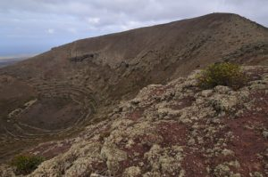 Cratère du volcan Los Helechos à Maguez. Île de Lanzarote (Islas Canarias).