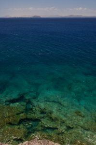 Fuerteventura depuis la pointe de Papagayo. Monumento Natural de los Ajaches. Île de Lanzarote (Islas Canarias).