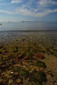 La plage de l'Argentière avec l'île de Porquerolles<br> Le Massif des Maures