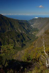 Vue sur la vallée de la Rivière des Remparts depuis le Nez de Bœuf<br> Parc National de la Réunion