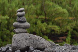 Cairn Zen.<br> La Pointe de la Table<br> Parc National de la Réunion