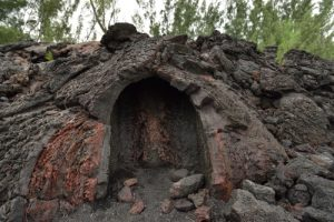 Fontaine issue d'un tunnel de lave.<br> La Pointe de la Table<br> Parc National de la Réunion