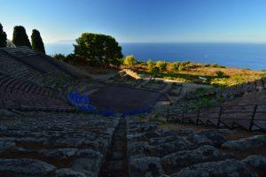 Le théatre grec du IIIs av JC<br> Le site archéologique de Tyndaris<br> Île de La Sicile